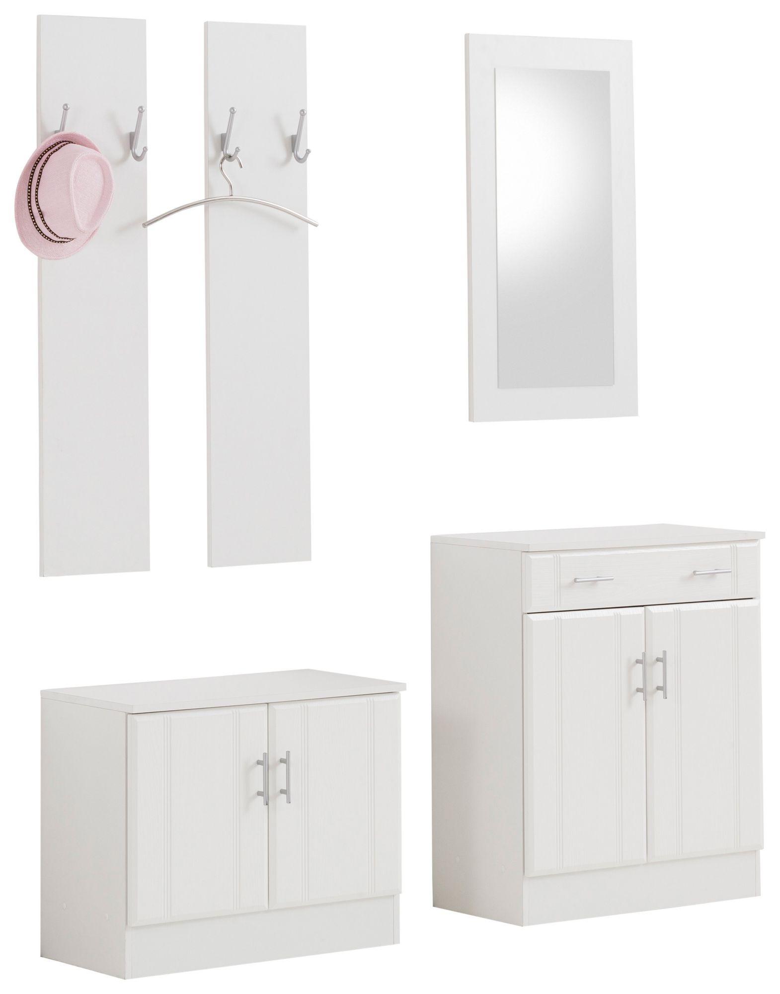 garderobe garderoben set 5 tlg wei hochglanz sonoma eiche. Black Bedroom Furniture Sets. Home Design Ideas