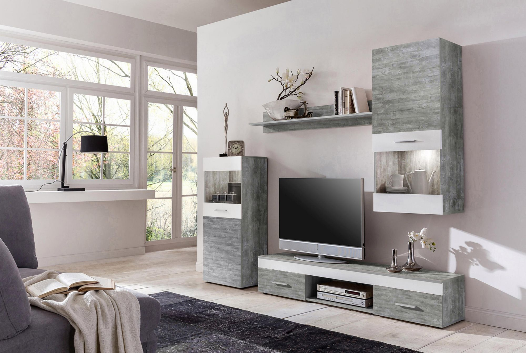 wohnwand 4 tlg schwab versand moderne wohnw nde. Black Bedroom Furniture Sets. Home Design Ideas