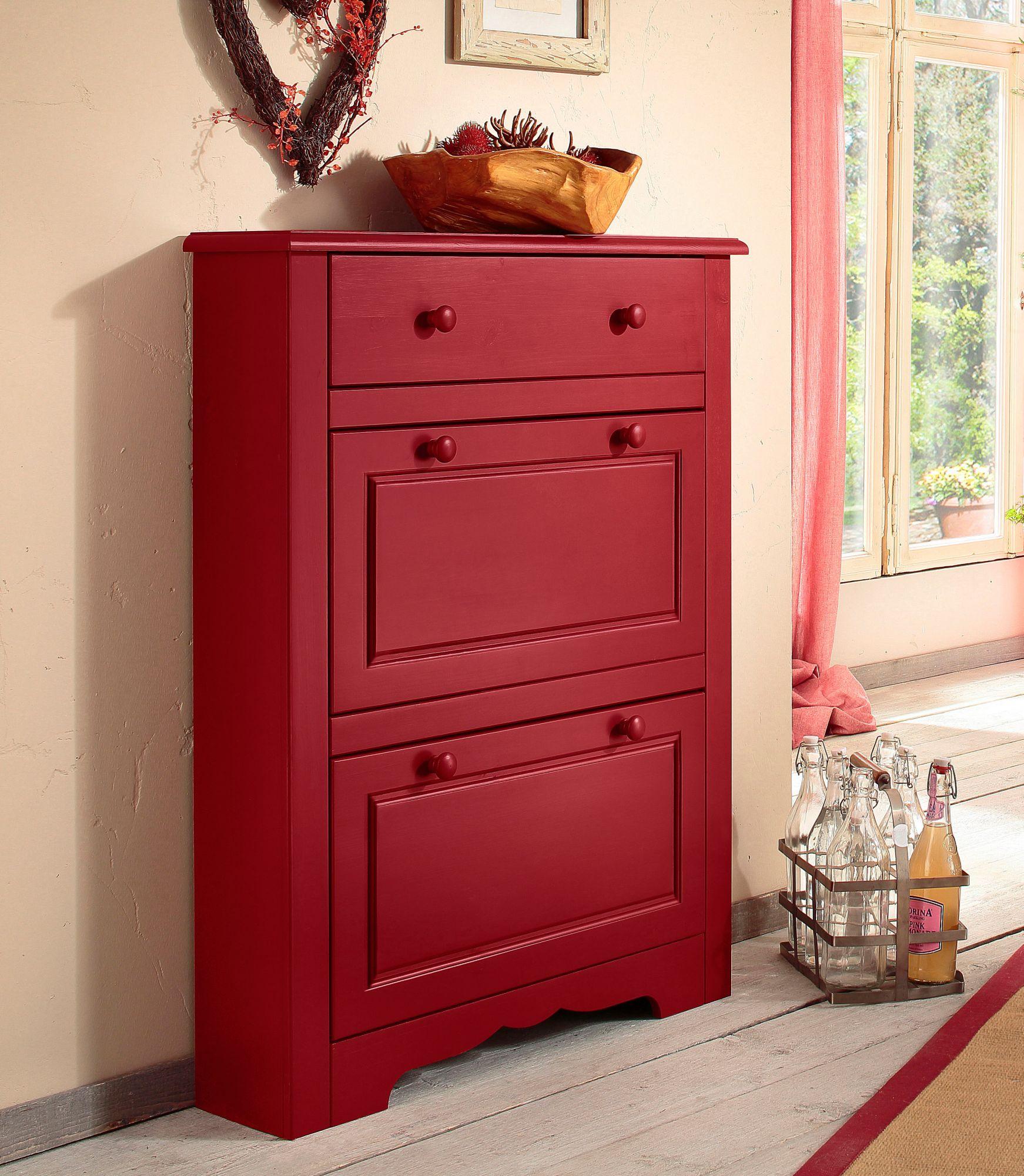 schuhschrank dielenm bel flur home affaire livorno rot. Black Bedroom Furniture Sets. Home Design Ideas