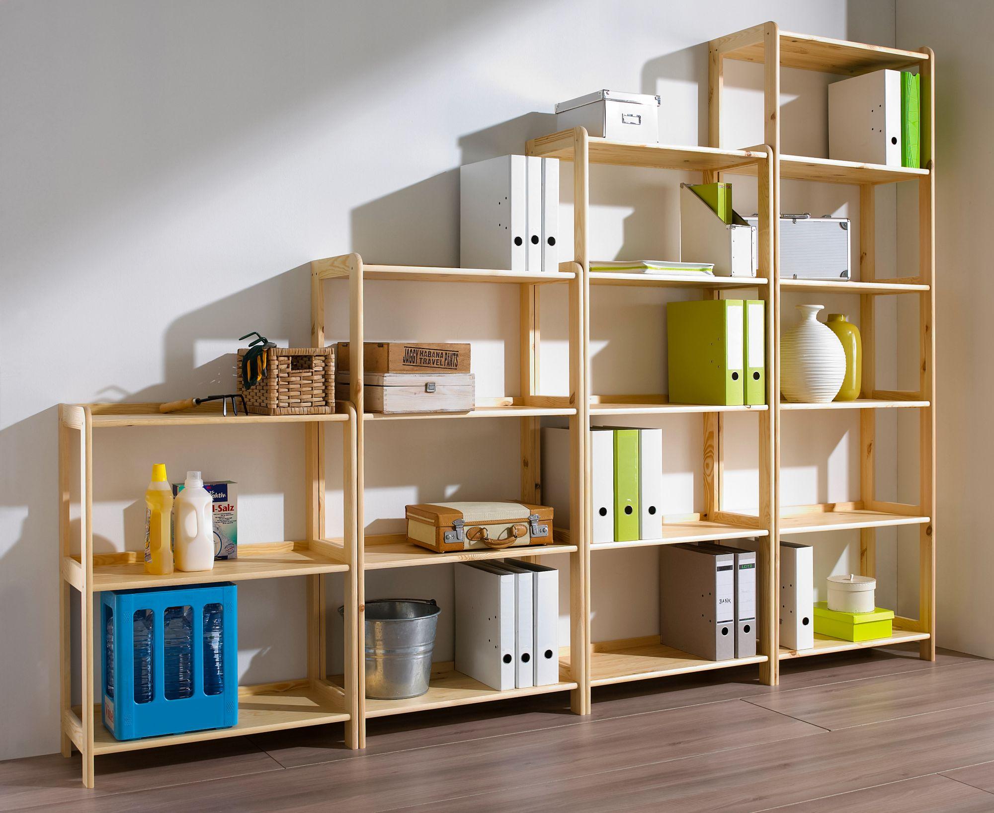 holz allzweck regal in 4 h hen schwab versand kellerregale. Black Bedroom Furniture Sets. Home Design Ideas