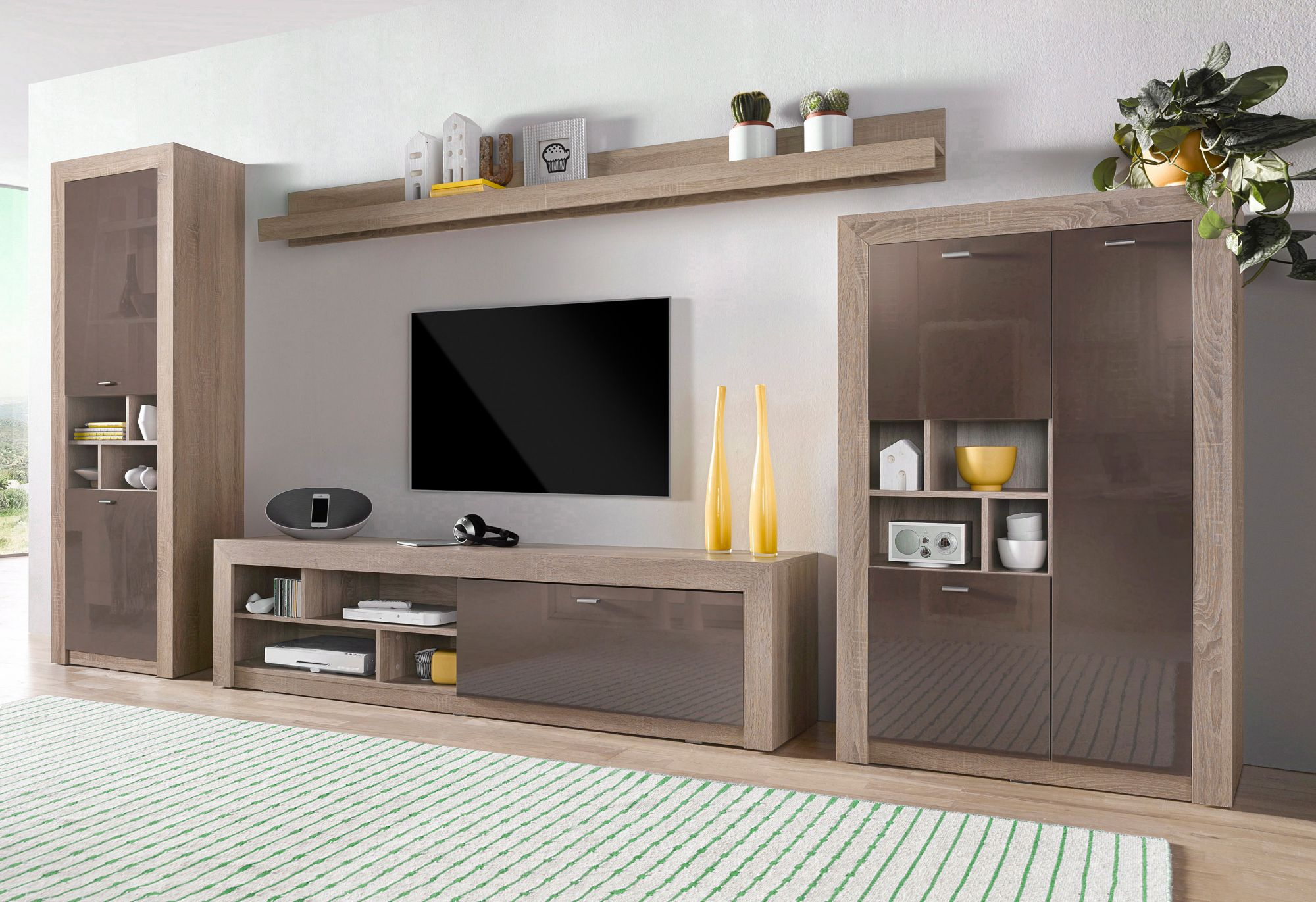 wohnwand 5 tlg schwab versand holz wohnw nde. Black Bedroom Furniture Sets. Home Design Ideas