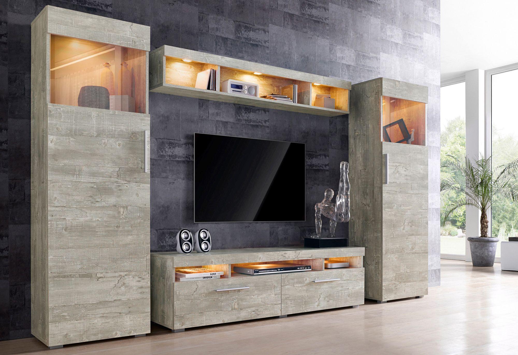 wohnwand 4 tlg schwab versand wohnzimmer. Black Bedroom Furniture Sets. Home Design Ideas