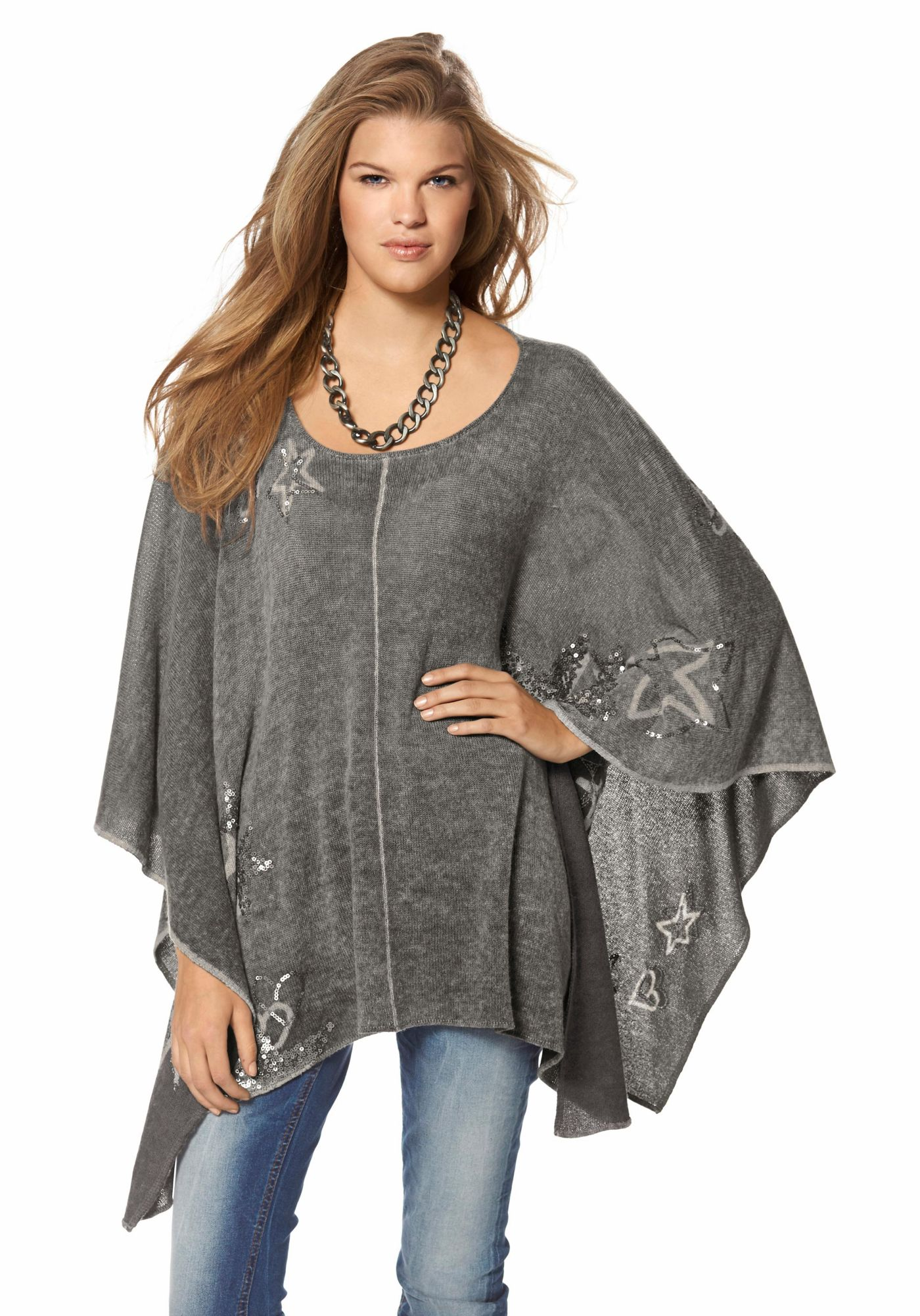 pullover ponchos capes ponchos princess goes hollywood strickponcho. Black Bedroom Furniture Sets. Home Design Ideas
