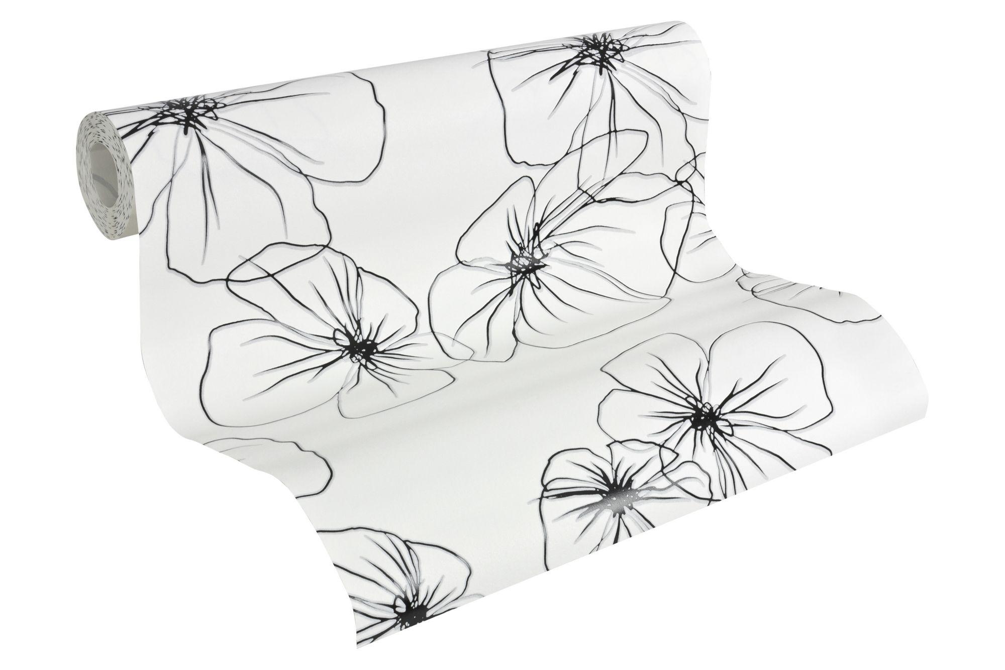 Selbstklebende Tapeten F?r Schr?nke : Flower Drawings? Schwab Versand Schwarz-Wei? Tapeten