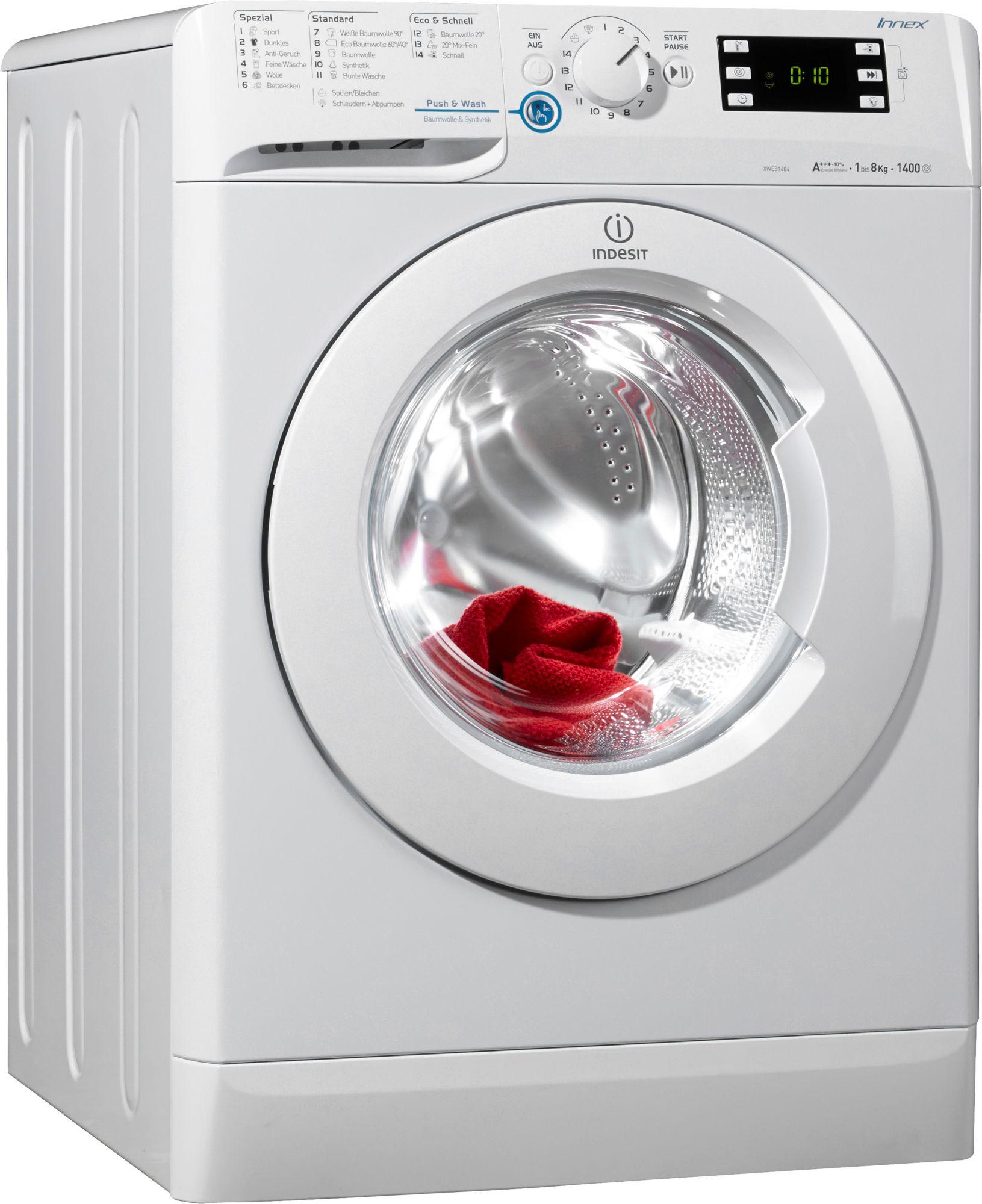 indesit waschmaschine xwe 81484x w de a 8 kg 1400 u. Black Bedroom Furniture Sets. Home Design Ideas