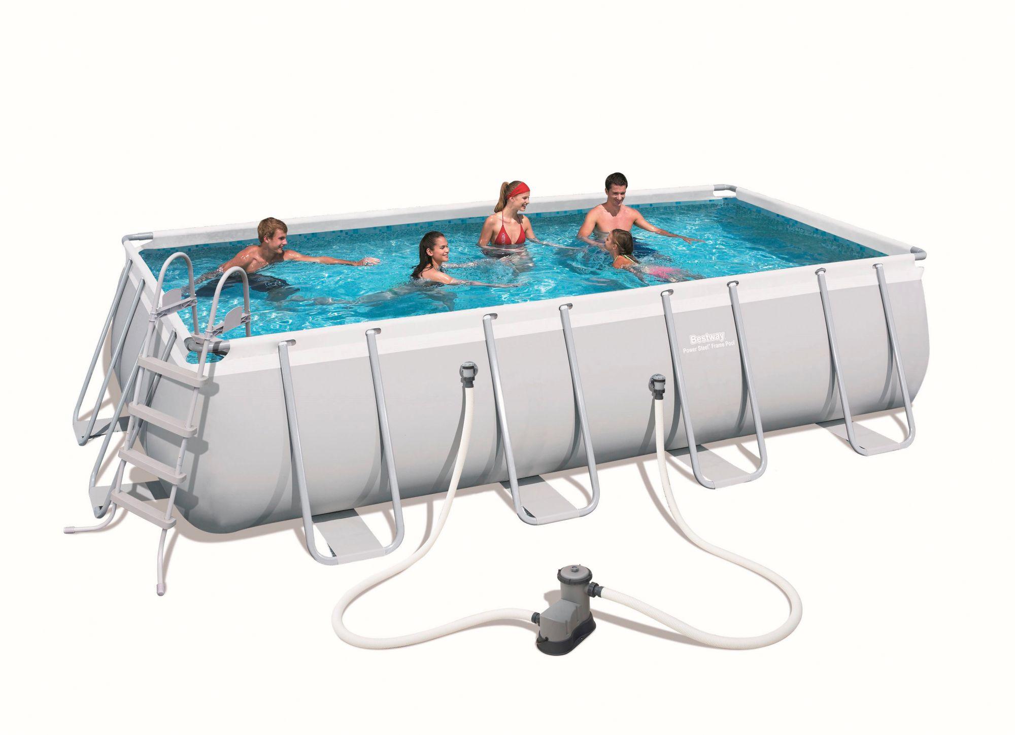 set frame pool power steel 549x274x122 cm rechteckig mit filterpumpe zubeh r schwab. Black Bedroom Furniture Sets. Home Design Ideas