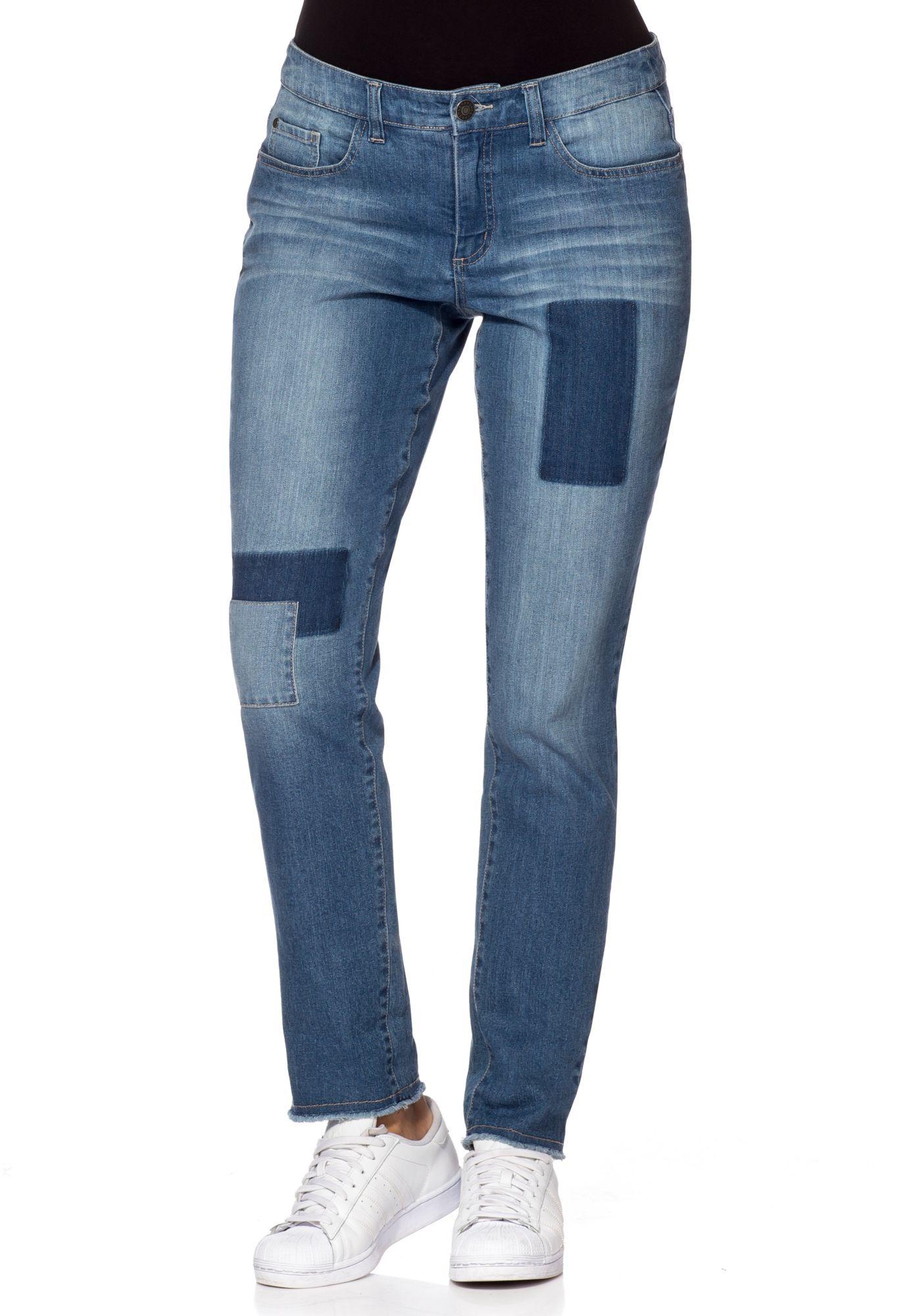sheego denim schmale stretch jeans mit patches und fransen. Black Bedroom Furniture Sets. Home Design Ideas