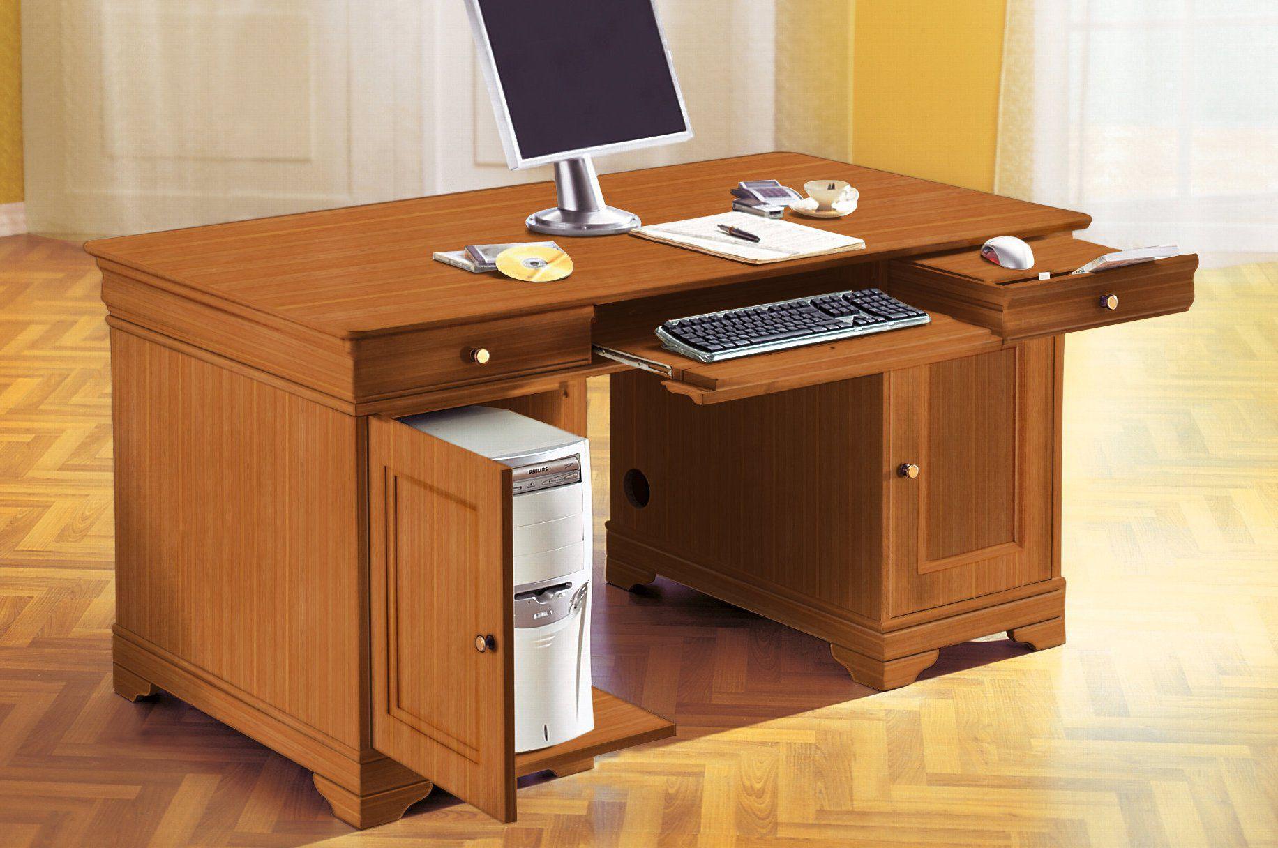 Schreibtisch mit pc einteilung heine kirschbaumfarben for Schreibtisch aus buchenholz