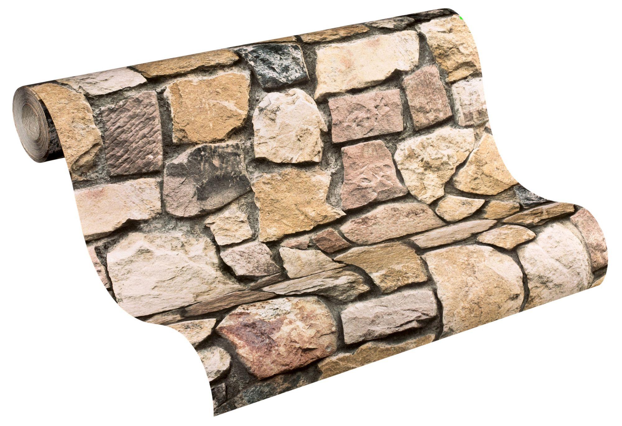 Papiertapete livingwalls steintapete basic schwab versand steintapeten - Steintapete schwarz ...