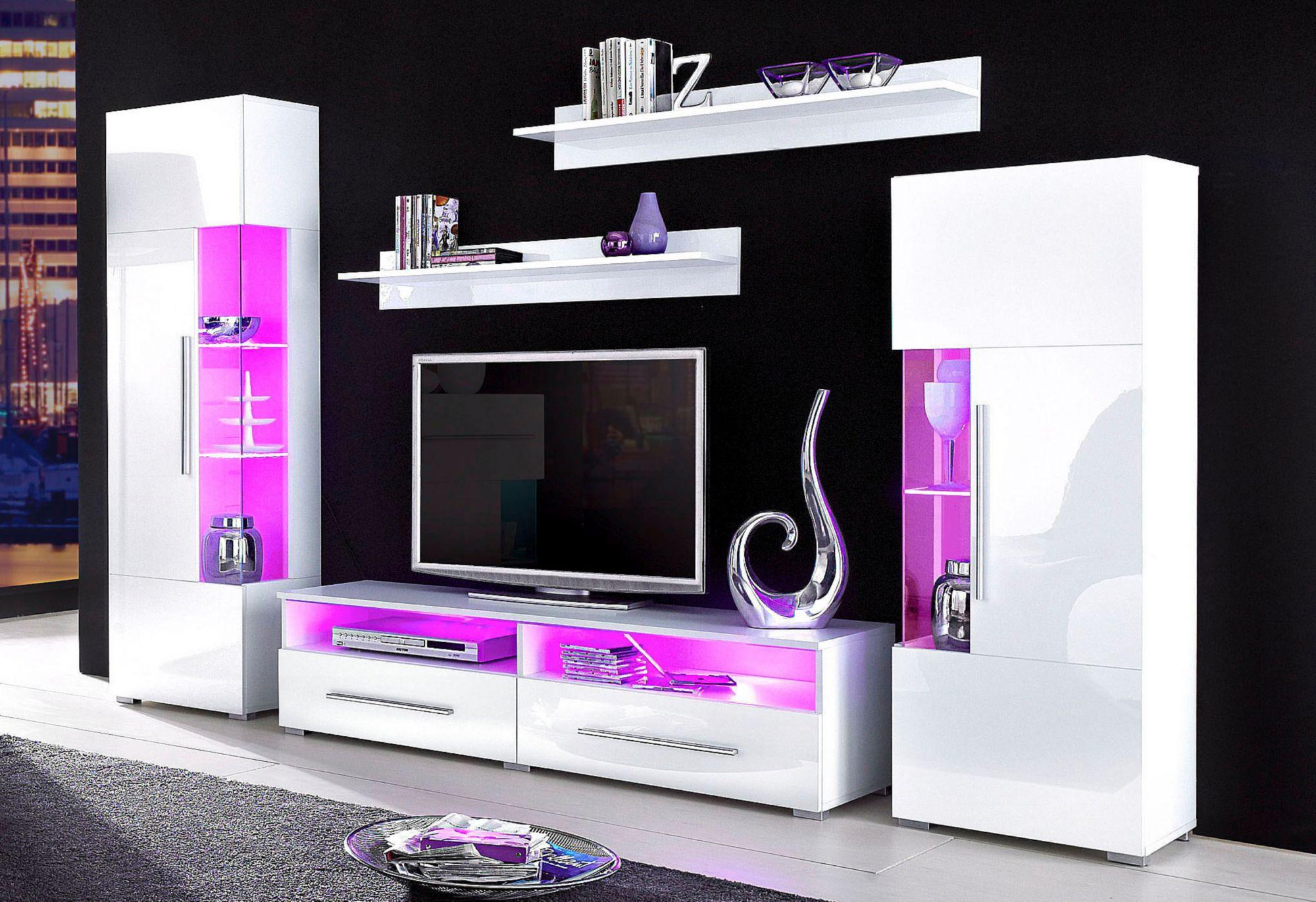 wohnwand 5 tlg schwab versand hochglanz wohnw nde. Black Bedroom Furniture Sets. Home Design Ideas