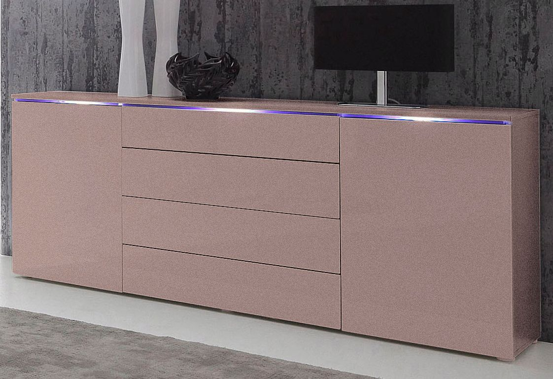 das sideboard hudson in hochglanz wei vereint eleganz mit. Black Bedroom Furniture Sets. Home Design Ideas
