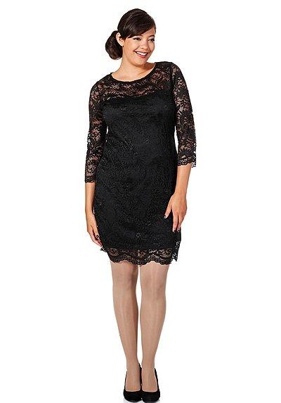 sheego anna scholz cocktailkleid aus spitze schwarz damenmode online kaufen. Black Bedroom Furniture Sets. Home Design Ideas