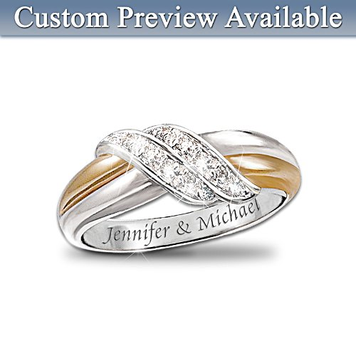 Diamond Embrace Personalised 2-Band Ring