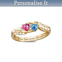 Love's Journey Couples Ring with Crystal Birthstones