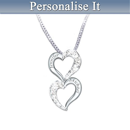 Loving Hearts Personalised Diamond Pendant Necklace