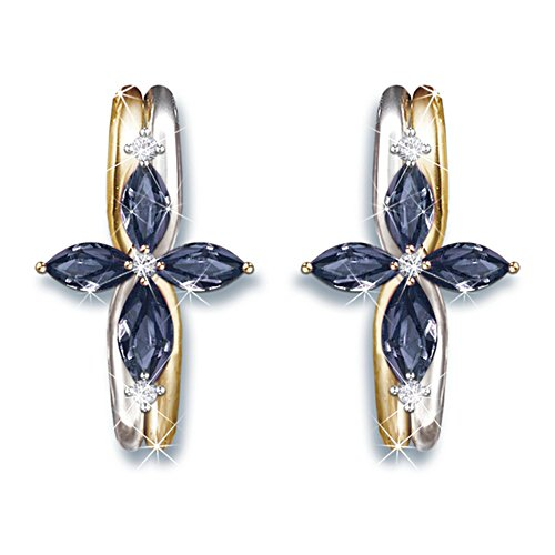 """The Trinity"" Sapphire And Diamond Women's Religious Earring"