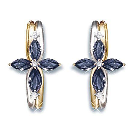 """The Trinity"" Sapphire And Diamond Women's Religious Earring"
