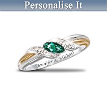 Emerald And Diamond Embrace Personalised Ring