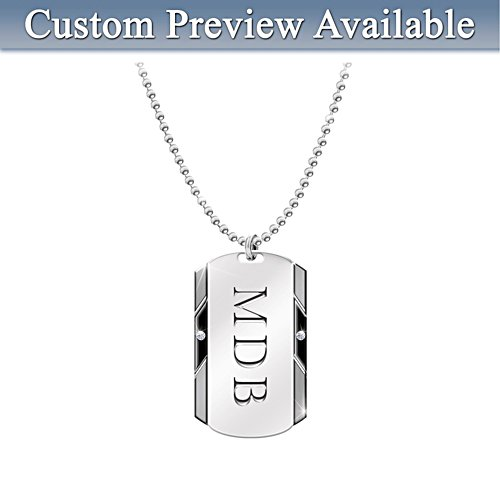 'For My Son' Personalised Diamond Dog Tag Pendant