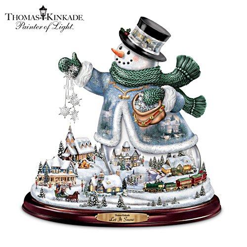 Thomas Kinkade Snowman With Lights, Animated Train, Music