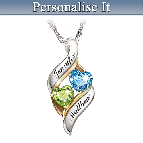 'Loving Embrace' Personalised Birthstone Pendant