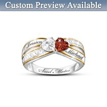 'Two Hearts Become Soul Mates' Ring