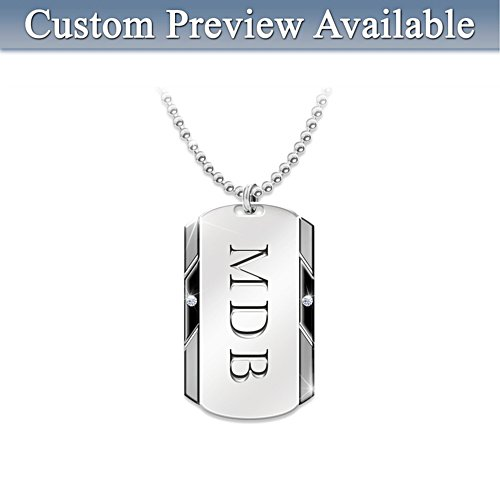 Personalised Dog Tag Pendant For Grandson