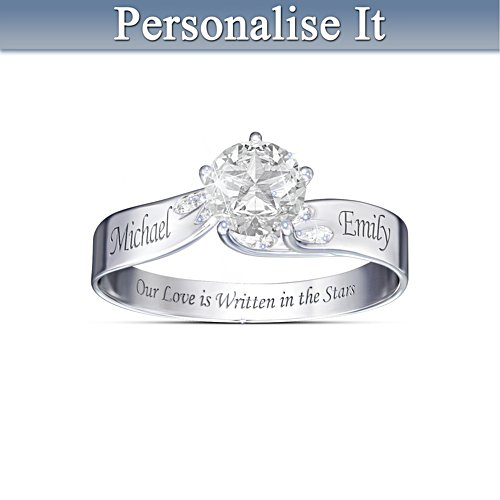 """Written In The Stars"" Engraved White Topaz Ring"