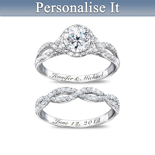 Entwined Diamonesk Personalised Bridal Rings