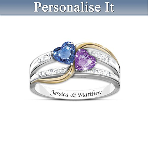 """Forever Love"" Personalised Crystal Birthstone Ring"