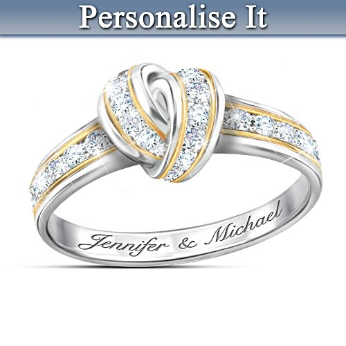 """Wrapped In Love"" Diamond Knot Ring With Custom Engraving"
