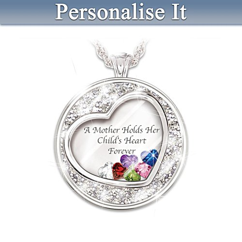'A Mother Holds Her Child's Heart' Birthstone Pendant