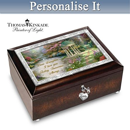 "Thomas Kinkade ""My Daughter, I Will Love You Always"" Personalised Music Box"