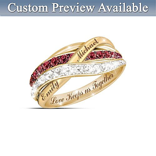 """Together In Love"" Red And White Diamond Ring"