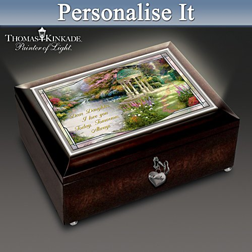 "Thomas Kinkade ""My Daughter, I Will Love You Always"" Lighted Personalised Music Box"