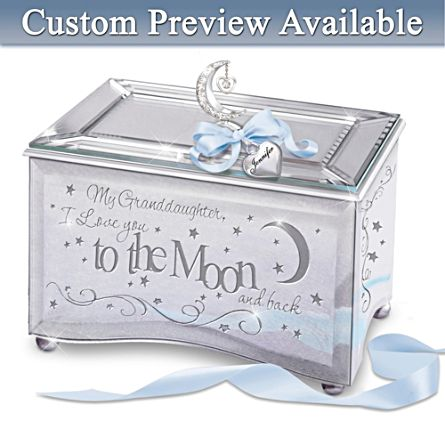 Granddaughter, I Love You To The Moon And Back Personalised Music Box