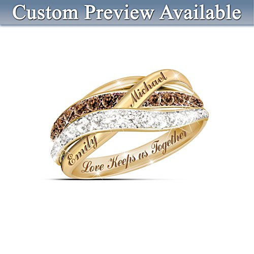 'Together In Love' Mocha Diamond Personalised Ring