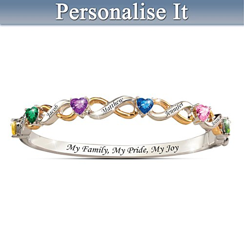 Family's Pride And Joy Birthstone Bracelet With Family Names