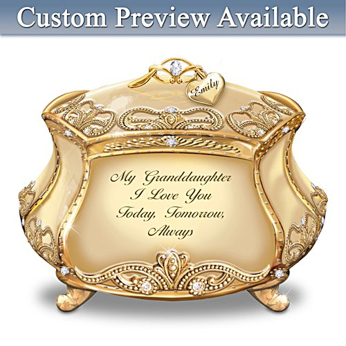 """Granddaughter, I Love You"" Gold-Plated Heirloom Personalised Music Box"