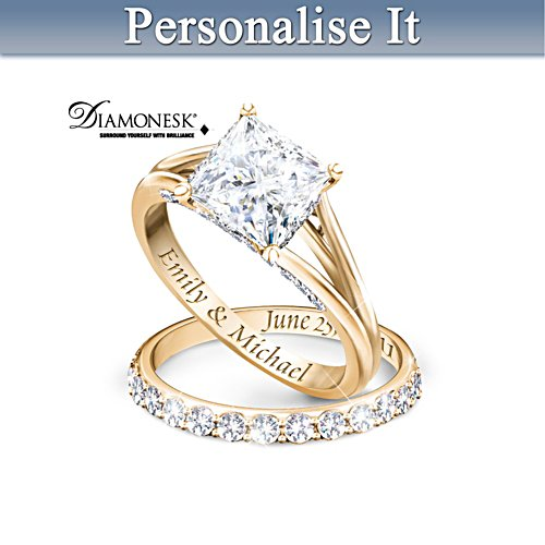 'Princess' Personalised Bridal Ring Set