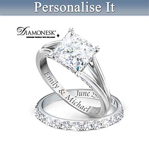 """Princess"" Bridal Ring Set With Personalised Engraving"