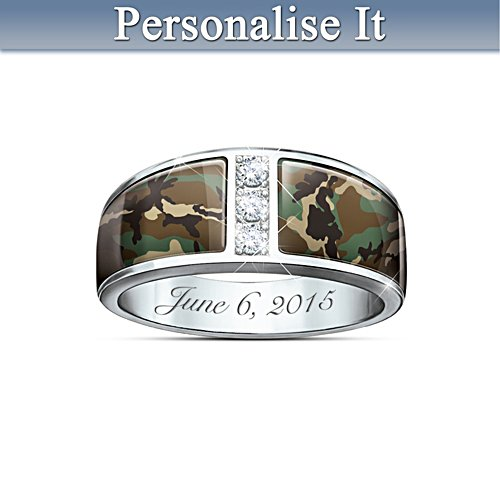 'Camo' Men's Personalised Wedding Ring