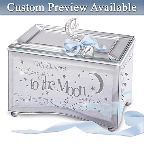 """Daughter, I Love You To The Moon"" Personalised Music Box"