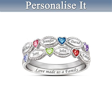 """My Family, My Love"" Birthstone Ring Set"