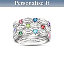 """My Family, My Love"" Personalised Ring Set"