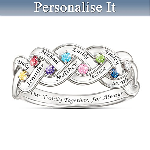 """Together For Always"" Engraved Birthstone Family Ring"