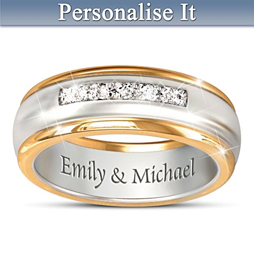 Together Forever Personalised Men's Diamond Wedding Ring