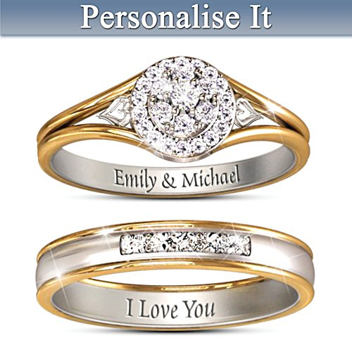 Together Forever Personalised Diamond Bridal Ring Set