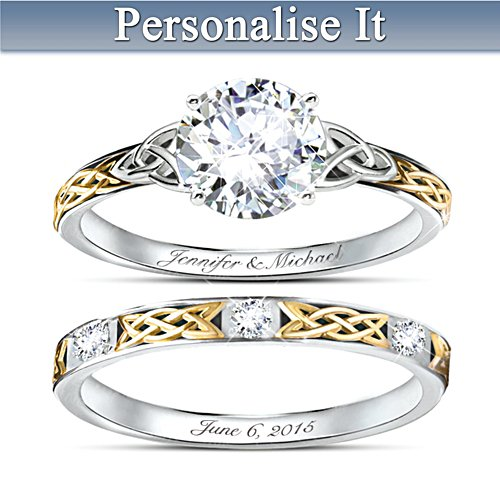 'Irish Trinity Knot' Hers Personalised Wedding Ring Set