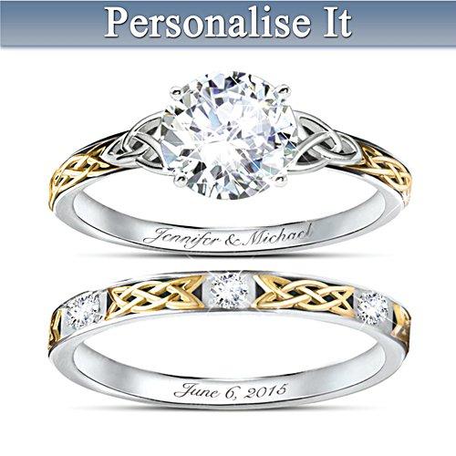 'Irish Trinity Knot' Hers Personalised Wedding Ring Set
